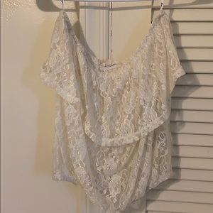 Ivory lace strapless top